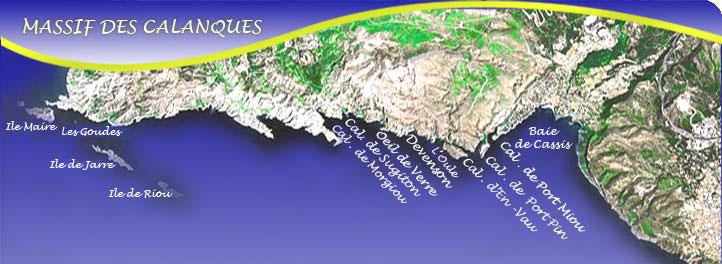Mapa de las Calanques de Cassis.